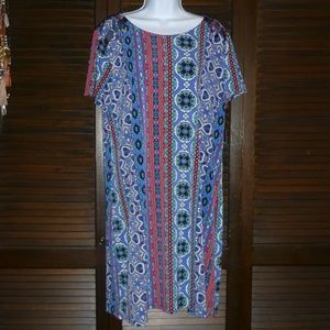 Rafaella Blue Patterned Shift Dress, XL, NWT